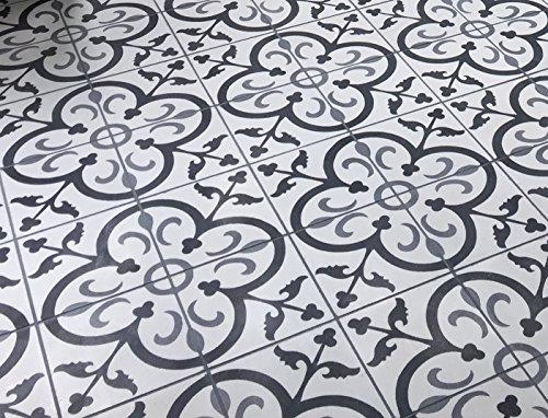 Flora Encaustic Gray Black White 8x8 Honed Finish Cement Tile Floor