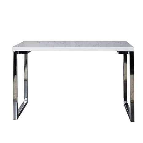 Invicta Interior Design Schreibtisch WHITE DESK 140x60 cm hochglanz weiss  Tisch Chromgestell Bürotisch
