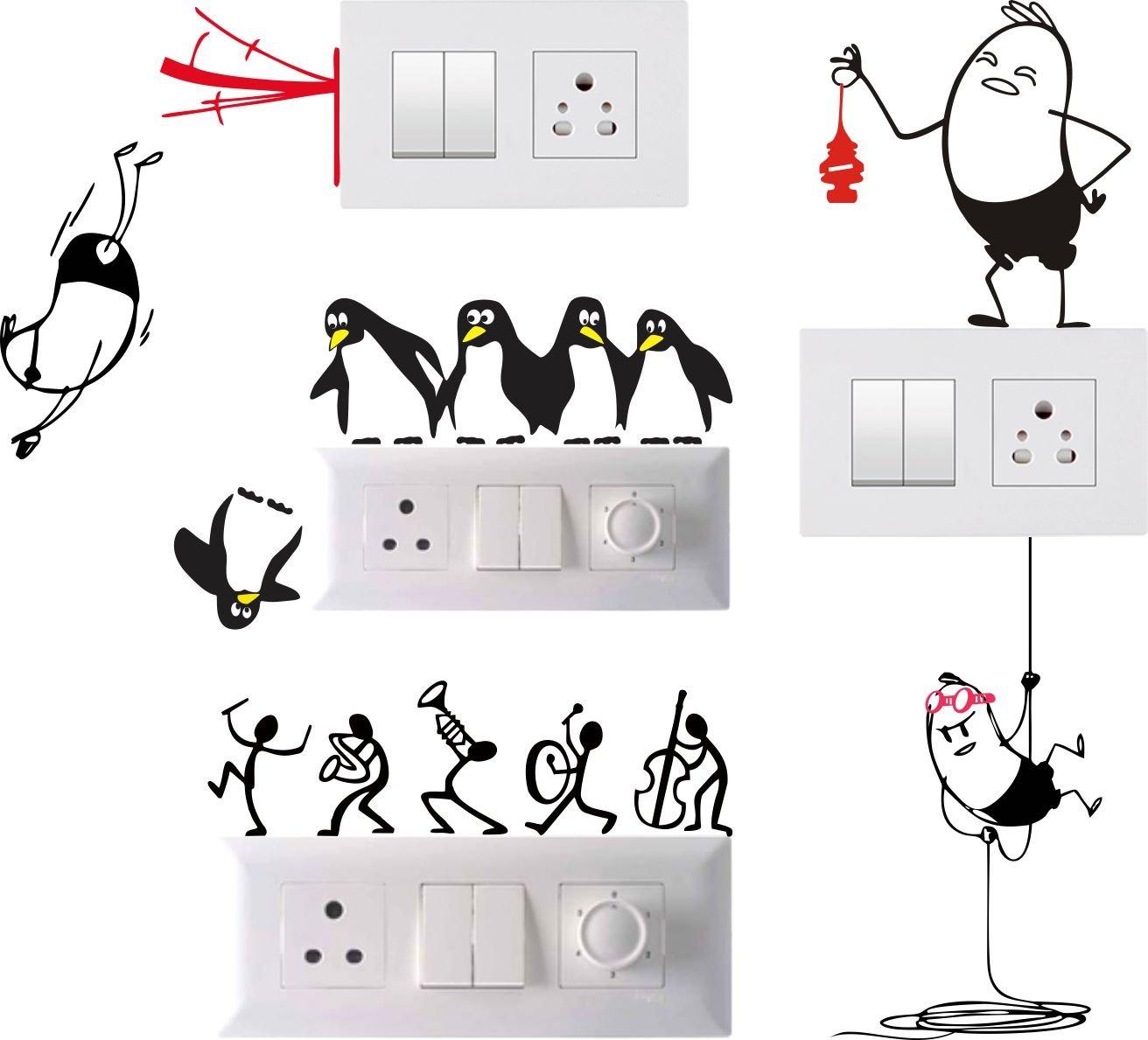 Funny Cartoon Light Switch Board Wallpaper