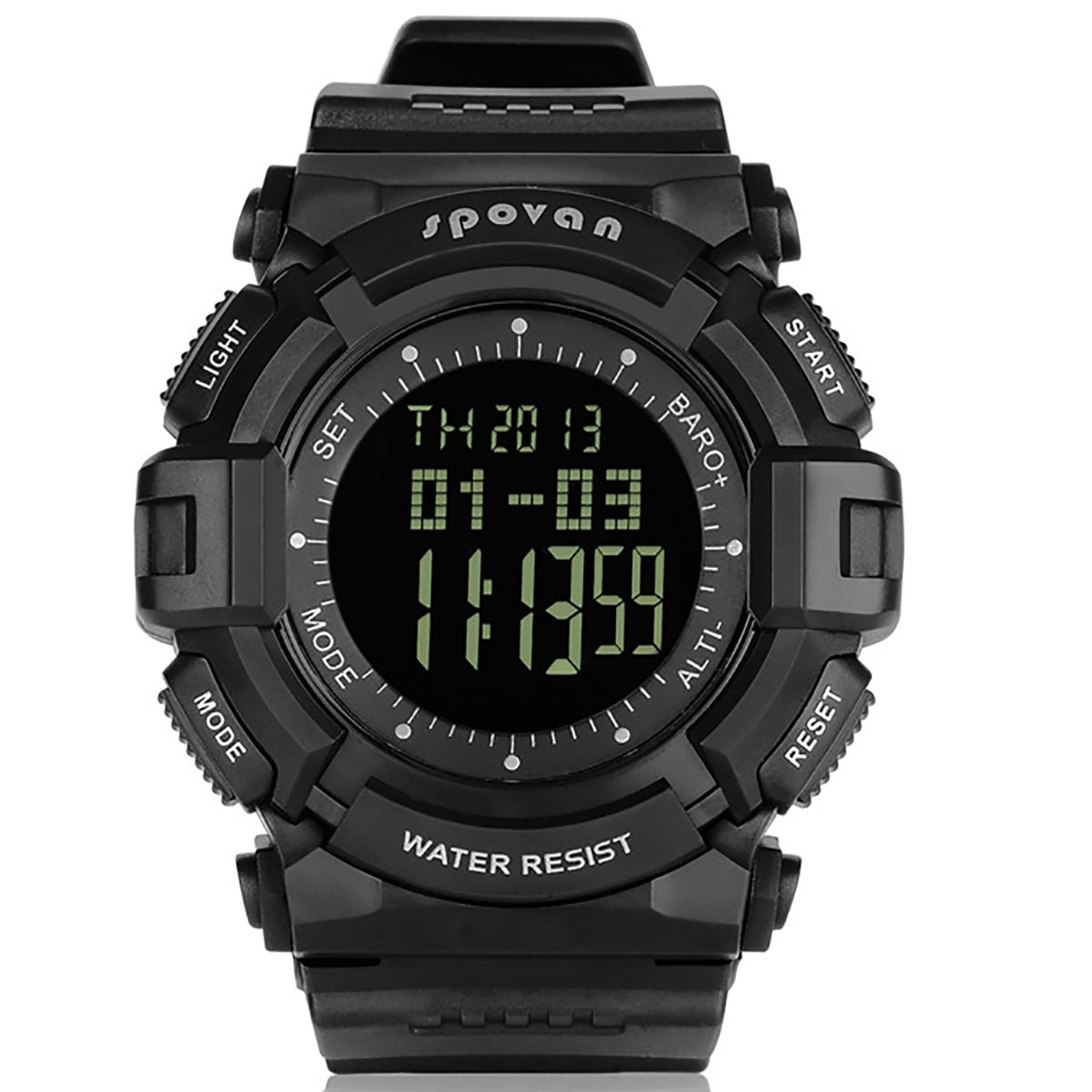 JUSHENG Spovan Multi function Sports Compass Alarm Altimeter Fishing Quartz Watches Suitable for Climbing Running Fishing Competition and other sports … (Black) by JUSHENG