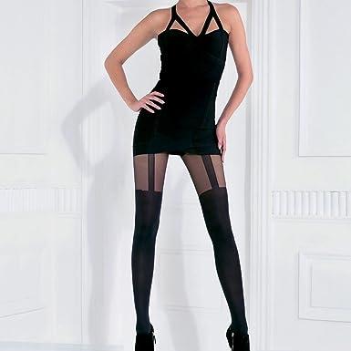Pomm poire - Collant fantaisie effet porte-jarretelles 70 deniers noir  Mythique - Femme b7959904db5