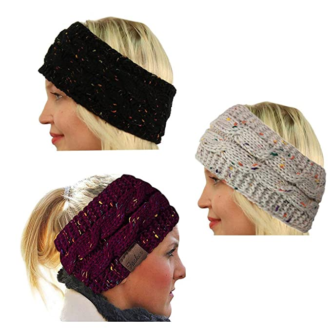 de53d50905f Image Unavailable. Image not available for. Color  CRIVERS 3pc Womens CC  Style Confetti Winter Cable Knit Headband Head Wrap ...