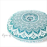 Eyes of India - 32'' Green White Round Colorful Floor Patchwork Pillow Cover Meditation Cushion Seating Throw Mandala Hippie Bohemian Boho Dog Bed IndianCover Only