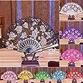 Luweki Multi-color Dance Party Wedding Lace Flower Folding Hand Held Flower Fan