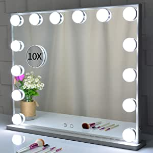 Hollywood Mirror, Large Lighted Vanity Makeup Mirror with Lights, 14pcs Led Bulbs Tabletop or Wall Mounted Dressing Table Beauty Mirror with A Magnetic 10x Magnifying Mirror (Silver)