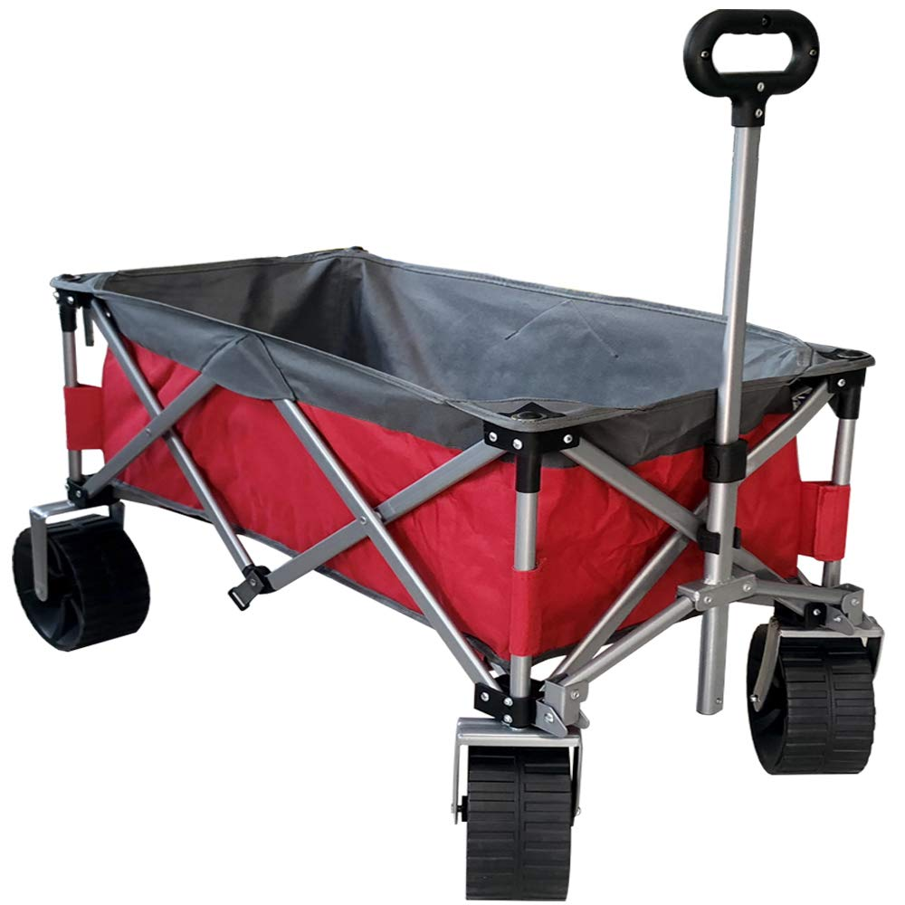 Eurmax Sports Collapsible Sturdy Steel Frame Garden Carts on Wheels Utility Beach Wagon Cart with Big Wheels,Bonus 8x8Ft Picnics Mat (Red & Gray) by Eurmax