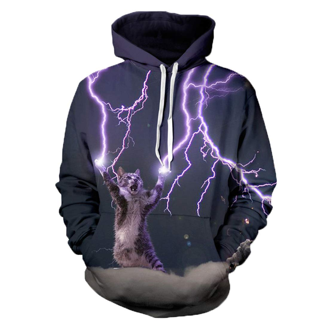 Amazon.com: Lightning Cat 3D Women Hooded Hoodies Men Jumper Coats Tracksuits Unisex Pullovers Sweatshirts Plus Size Hoodie: Clothing