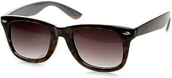 Classic Two-Tone Tortoise Havana Basic Horn Rimmed Sunglasses (Tortoise-Gray)