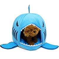 Dog Cat Bed Shark Covered Cave House Tent for Small Pets up to 12lbs with Removable Cushion and Water Resistant Bottom…