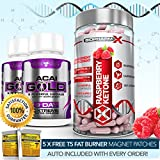 RASPBERRY KETONES 100% PURE CERTIFIED + ACAI GOLD DETOX / SLIMMING / DIET PILLS