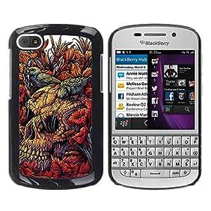 GOODTHINGS Funda Imagen Diseño Carcasa Tapa Trasera Negro Cover Skin Case para BlackBerry Q10 - pájaros naturaleza decadencia naturaleza cráneo de muerte