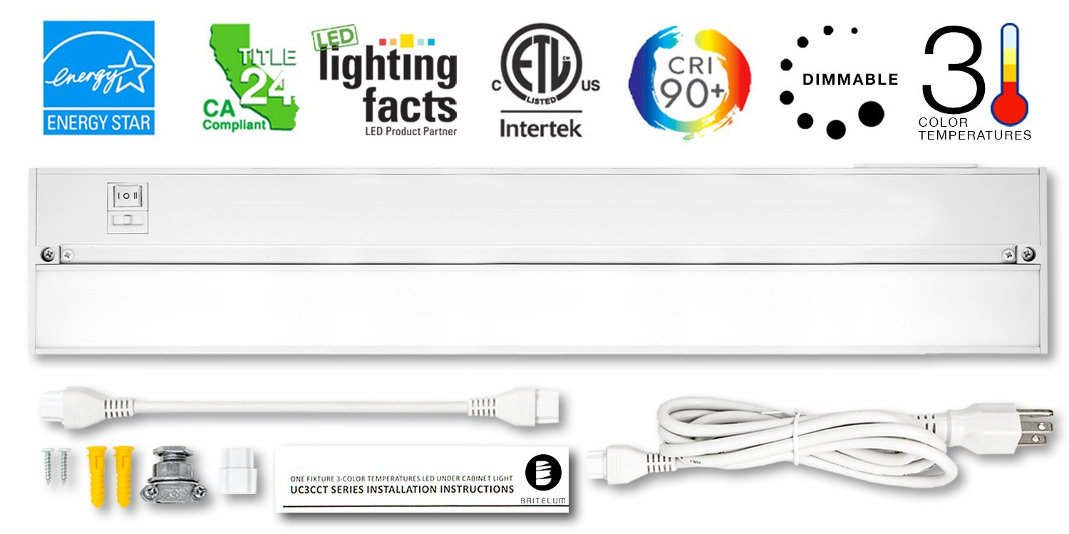 Britelum 22 Inch, 3-in-1 Color Temperature: Dimmable LED Under Cabinet Lighting; 2700K/ 3500K/ 4000K w/ CRI90+, Hardwired or Plug in, Energy Star, CA T24, ETL Listed 120V 11W 610 Lumens, White