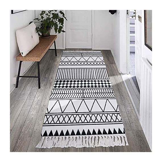 HEBE Cotton Rug Runner 2.3'x6' Washable Woven Tassel Black and White Rugs Cotton Throw Rugs Floor Carpet Mat Bohemian Rug for Living Room Kitchen Laundry - Area Rug Runner Size: Package includes 1 PCS cotton woven tassels runner rug. Cotton runner rug measure size at 2.3 x 6 ft/70*180cm.The size is perfectly suitable for kitchen floor,laundry room,living room,entrance way,doormat or any room you like. Accent Cotton Rug: Woven cotton throw rugs runner well made by Natural Cotton.Cotton material makes excellent water absorption.It's safe for the environment, give soft and breathable touch when people walk on them. Printed Bohemian Cotton Rug Runner: Cotton throw rug designed with geometric patterns and extra snazzy knotted tassels on each side which make them seem chic.Cotton area rug color is black and white that will make it never go out of style and long time stay on the floor. - runner-rugs, entryway-furniture-decor, entryway-laundry-room - 61xUlzyD%2BPL. SS570  -