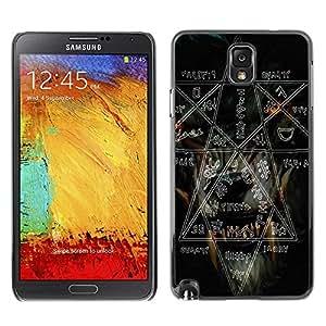 Caucho caso de Shell duro de la cubierta de accesorios de protección BY RAYDREAMMM - Samsung Galaxy Note 3 N9000 N9002 N9005 - Witch Rock Metal Heavy Pentagram Black Dark