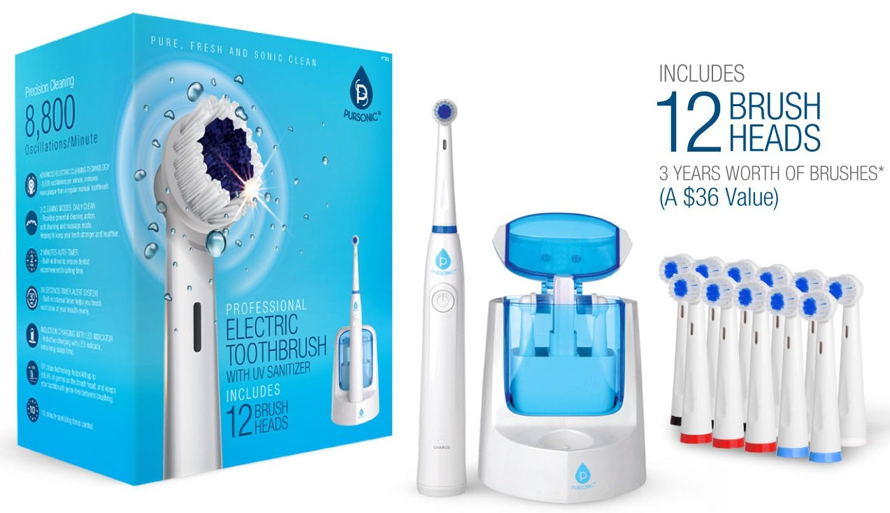 Pursonic RET200 Power Rechargeable Electric Toothbrush With UV Sanitizing Function, 12 Brush Heads Included