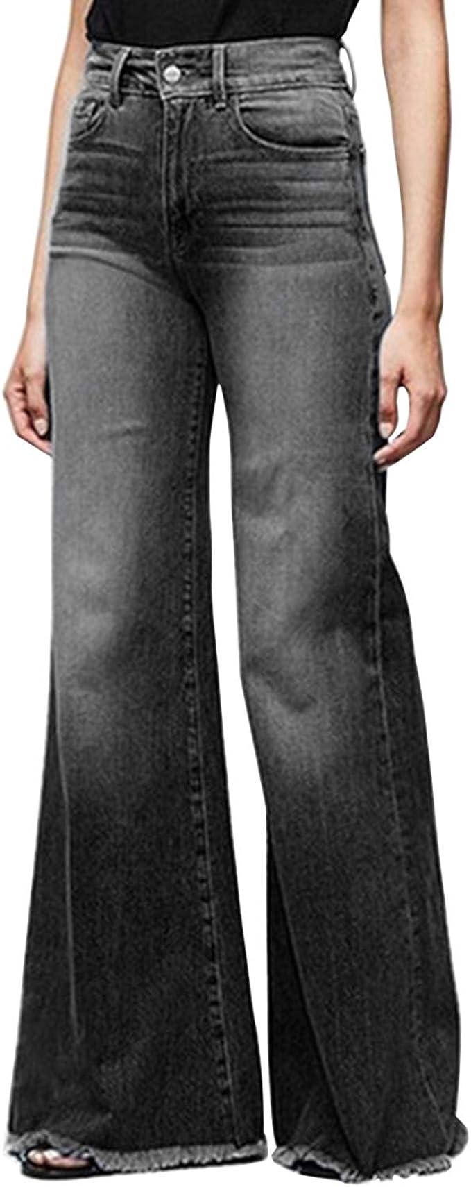 Pantalones Vaqueros Acampanados De Talle Alto De Pierna Ancha De Las Mujeres Retro Bootcut Raw Hem Denim Pants Amazon Es Ropa Y Accesorios