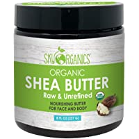 Organic Shea Butter by Sky Organics (8 oz) 100% Pure Unrefined Raw African Shea Butter for Face and Body Moisturizing Natural Body Butter for Dry Skin