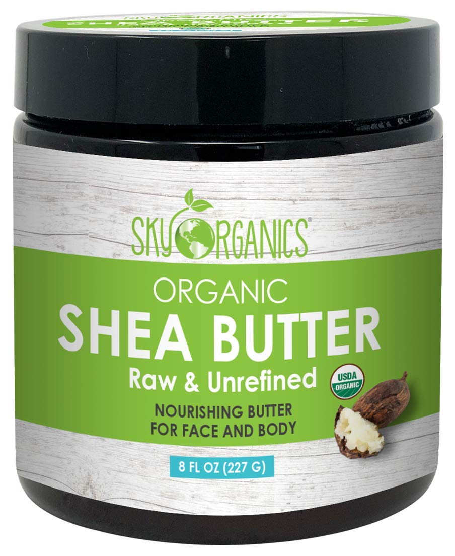 USDA Organic Unrefined African Shea Butter (8 oz Jar) 100% Pure & Raw Ivory Moisturizing Butter - Rich Body Moisturizer for Dry Skin - Great for DIY Whipped Body Butters