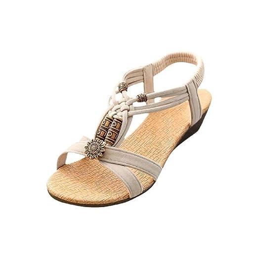 5c39c617405b Tsmile Women Sandals Women s Summer Fashion Peep-Toe Flat Buckle Shoes  Roman Summer Sandals Casual