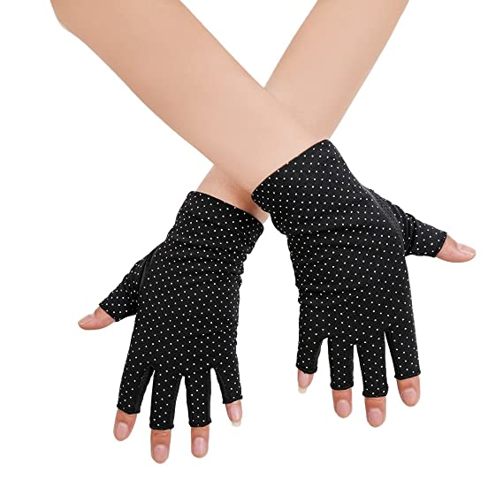 Women Sunblock UV Protection Cotton Gloves Fingerless