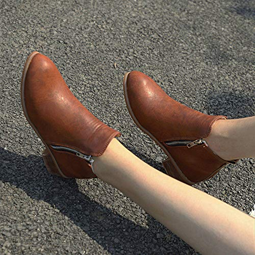 Rond Zipper Simples Cuir Bout En Femmes Martin Marron Bottes Talon Carr Holywin Chaussures qav0tPFw