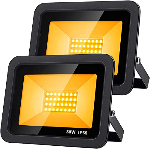 OPPSK 2 Pack 30W Amber LED Flood Lights with US Plug, IP65 Waterproof Floodlight Indoor Outdoor Wall Washer for Wedding Party Hotel Building Outlines Shopping Mall Garden Landscape Stage Lighting