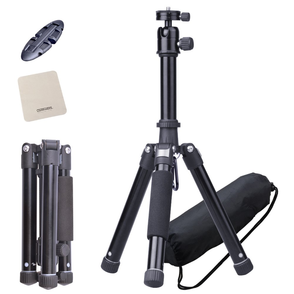 Chiheisenn Lightweight Travel Portable Compact Desktop Macro Mini Aluminum Alloy Tripod Kit With Ball Head,Quick Release Plate,Aluminum Legs,Carring bag,Phone Holder for DSLR Camera, Video Camcorder by CHIHEISENN