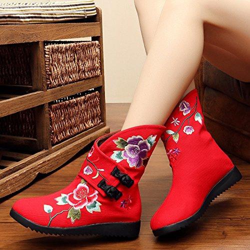 Bottes À Du Beijing Et À National KHSKX Chaussures De Bottes Brodés Faible Chaleur Plat Coton Chinois De Velours De À Tissu Pied Cotton Vieux boots Vent Court Les Style Au Fond 6wq7B5w