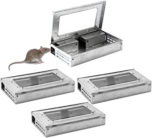 Noa Store 4-Pack Tin Cat Mouse Live Trap with Window Multi Catch Mice Mousetrap