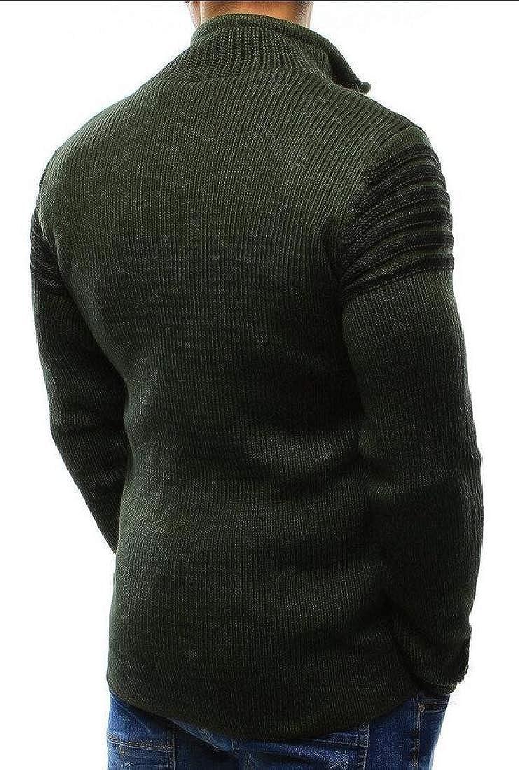 Gocgt Men Quarter-Zip Hole Long Sleeve Pullover Top Sweater