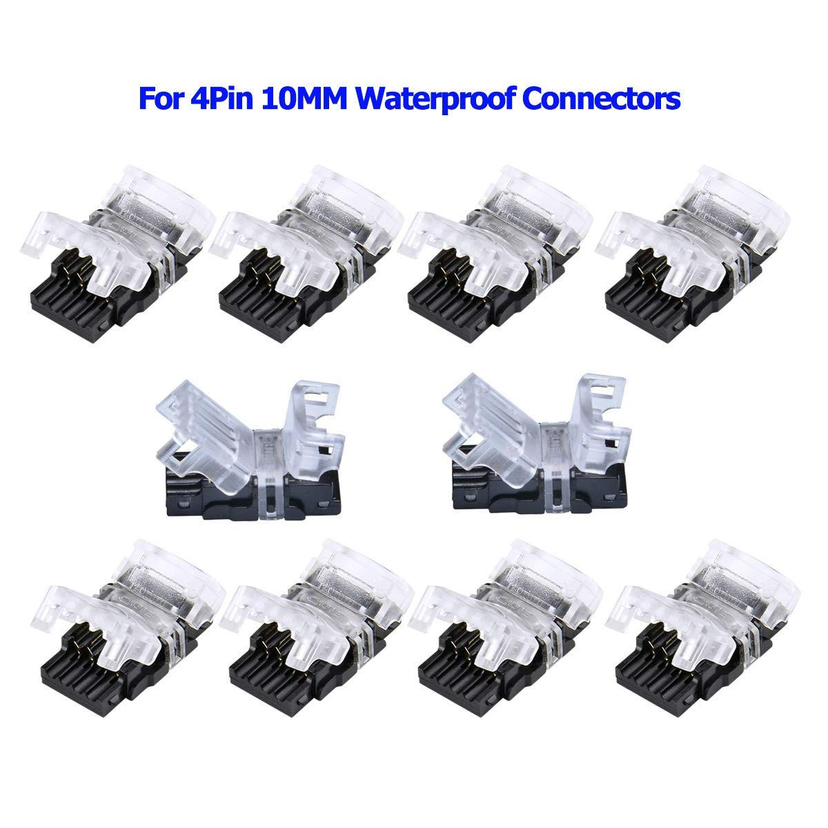 10 Pack 4 Pin Led Connector for Waterproof 10Mm RGB 5050 5630 Led Strip Lights, Strip to Wire Quick Connection Without Stripping Wire