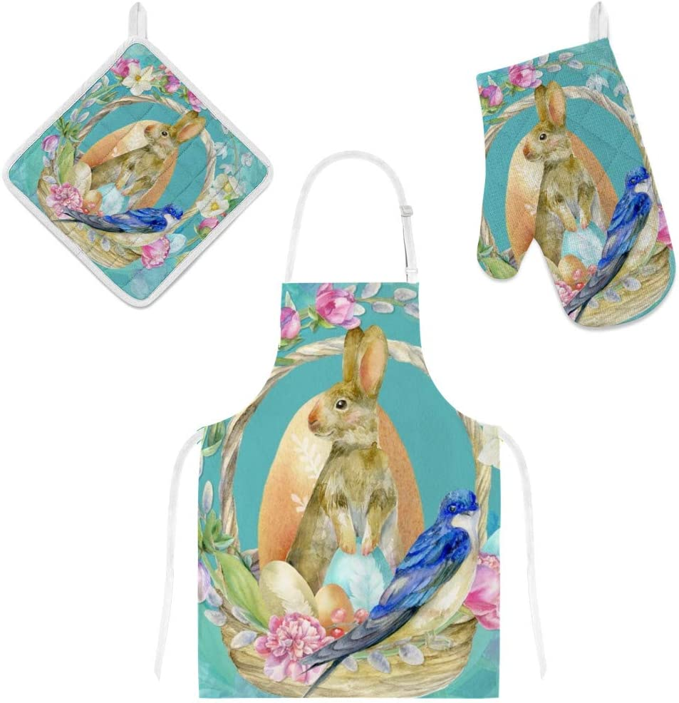 Top Carpenter Polyester Insulation Kitchen Oven Mitts Potholder Apron 3Pcs Set Easter Bunny with Flower Basket Non Slip Heat Resistant Gloves for Baking Cooking BBQ