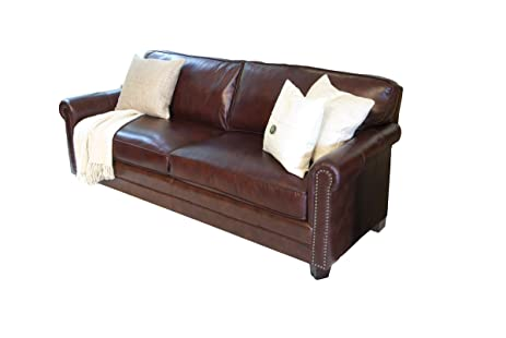 elements winslow top grain leather sofa raisin leather