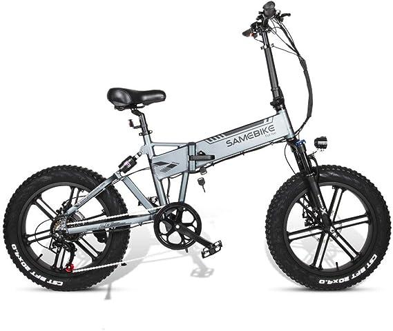 Bicicleta eléctrica para Adultos Plegables 4 Modos de 48V 500W 10AH 20 x 4,0 Pulgadas Fat Tire de 7 velocidades para Bicicleta de Nieve Bicicleta de montaña,Plata: Amazon.es: Deportes y aire libre