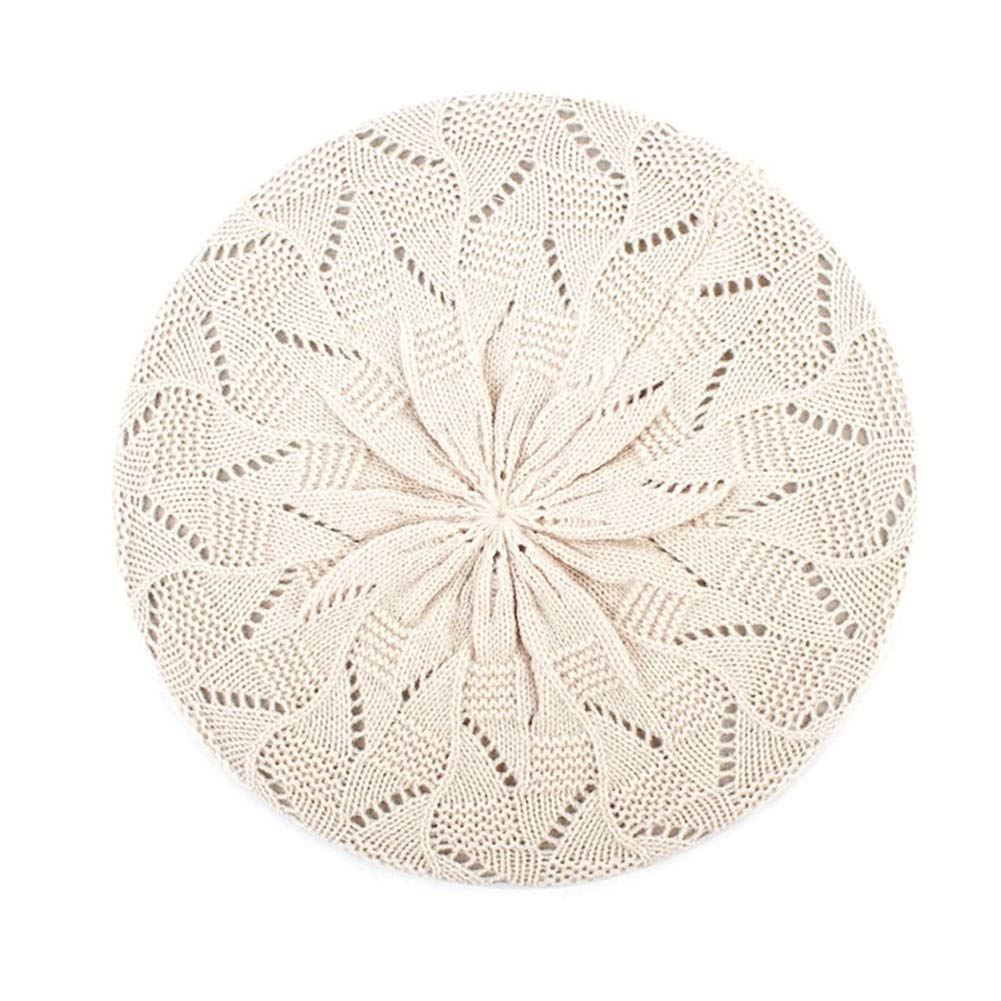 Women's Plain Color Knit Beret Hat Ladies French Artist Beanie Beret Hats Spring Casual Thin Acrylic Berets For Women (Color : Beige, Size : M) by ERNANGUA