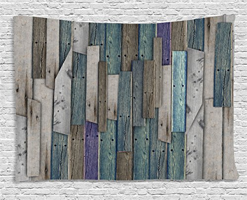Ambesonne Wooden Wall Hanging Tapestry, Blue Grey Grunge Rustic Planks Barn House Wood and Nails Lodge Hardwood Graphic Print, Bedroom Living Room Dorm Decor, 80 W X 60 L Inches, Teal Purple Grey