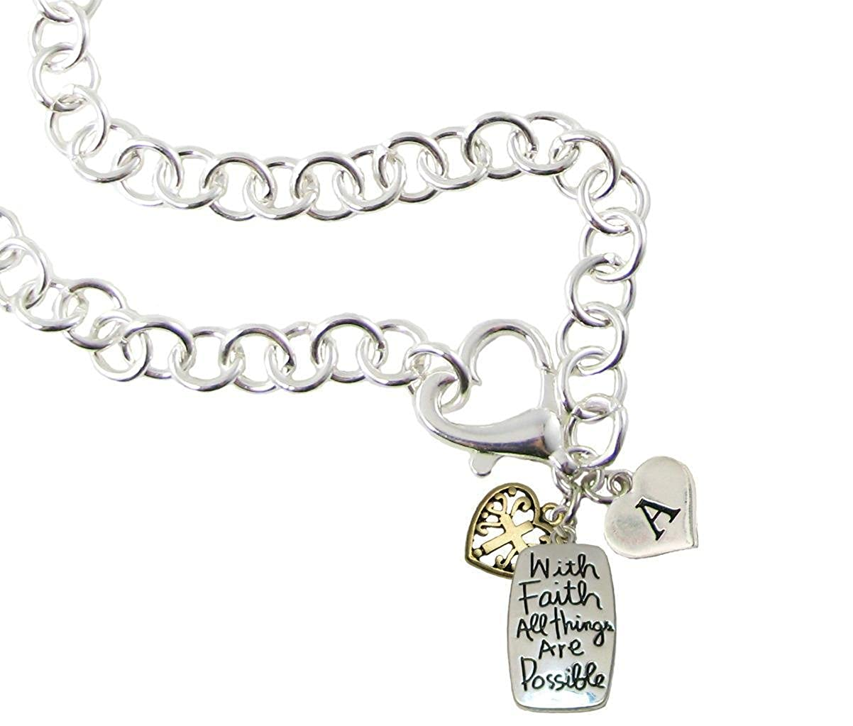 Necklace Custom With Faith All Things are Possible iInitial Charms Heart Clasp Necklace
