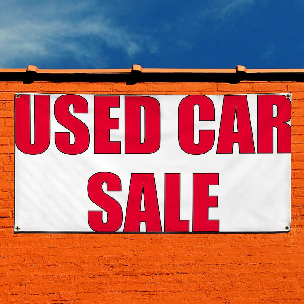 28inx70in 4 Grommets Vinyl Banner Sign Used Car Sale #1 Business Used Car Sale Marketing Advertising Red Multiple Sizes Available Set of 2