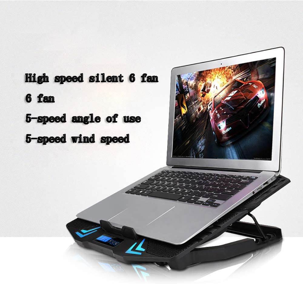 Height Adjustable Laptop Stand with 2 USB Fits 12-15.6In QYEND Laptop Cooler Cooling Pad,Portable Cooler Pad with LCD Screen 6 Silent Fans