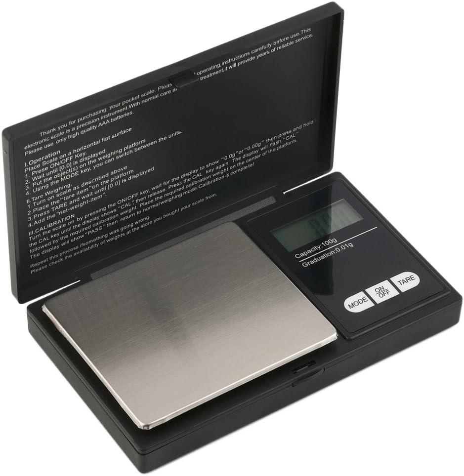 Hoosiwee Báscula Digitales de Precisión,100g 0.01g Balanzas de Portátiles, Báscula de Joyería, con Pantalla LCD, Plataforma de Acero Inoxidable, Función de Tara, para Cocinar, Droga, Café