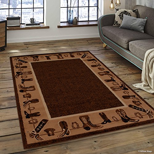 Allstar 8x10 Mocha Cabin Rectangular Accent Rug with Chocolate and Espresso Wildlife Cowboys' Boots Design (7' 6