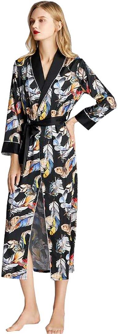 Kimono Mujer Batas Elegante Pijama Kimono de Seda Vestido de ...