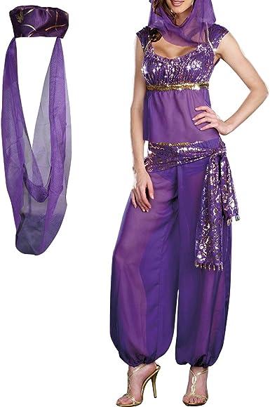 WOMENS FANCY DRESS BELLY DANCER JASMINE ALADDIN ARABIAN NIGHTS PRINCESS COSTUME