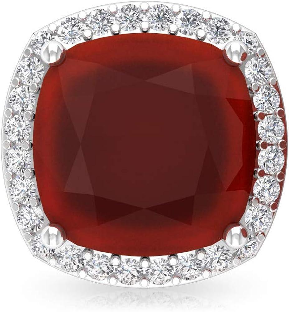 2.8 Ct Red Onyx Stud Earring, Cushion Shape Gemstone Earring, IGI Certified Diamond Bridal Wedding Earring, IJ-SI Diamond Vintage Earring, Screw Back