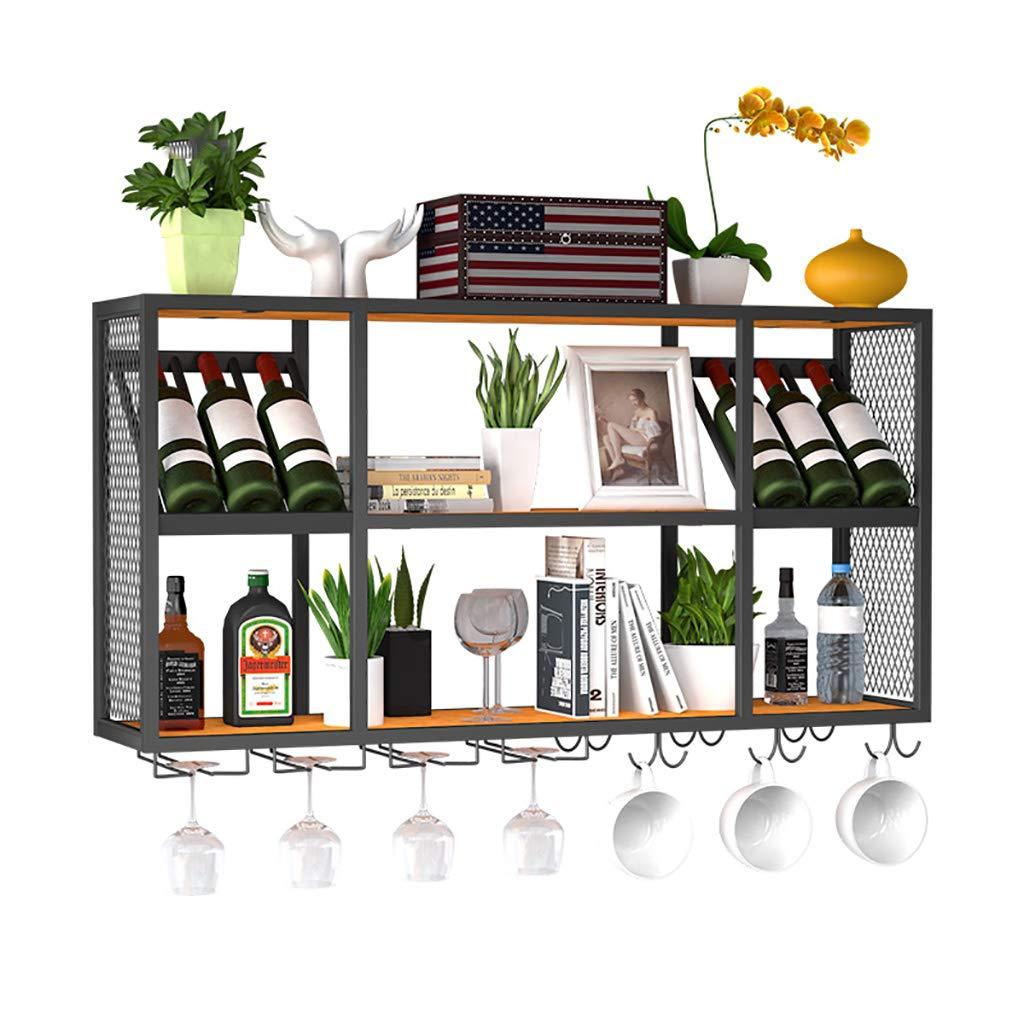 ワインホルダー 鍛造鉄ワインラック壁ワインラック逆ワイングラスラックLOFT背景壁ラック ワインラック (色 : A) B07J9PQGRW  A