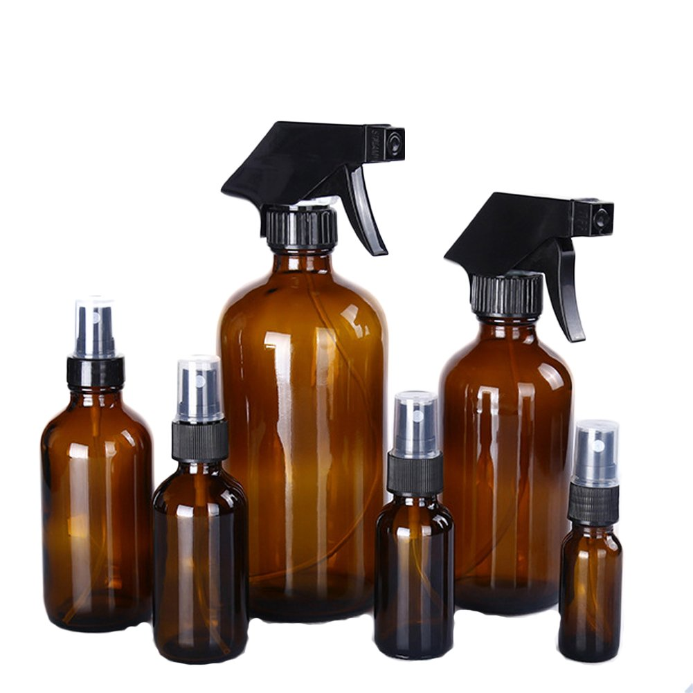 Sel-More Bottiglie spray vetro ambrato vuote - Contenitore ricaricabile per oli essenziali, prodotti per la pulizia o spruzzatore con grilletto per aromaterapia con impostazioni di nebbia e flusso