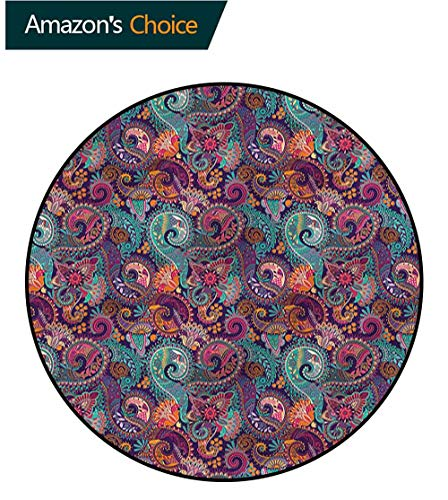 RUGSMAT Paisley Non-Slip Area Rug Pad Round,Oriental Geometric Shapes Perfect for Any Room, Floor Carpet Round-71