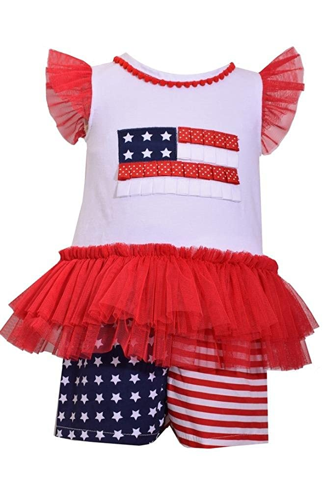 c4156e6e15 Amazon.com  Bonnie Jean Red White and Blue USA American Flag Shorts Set   Clothing