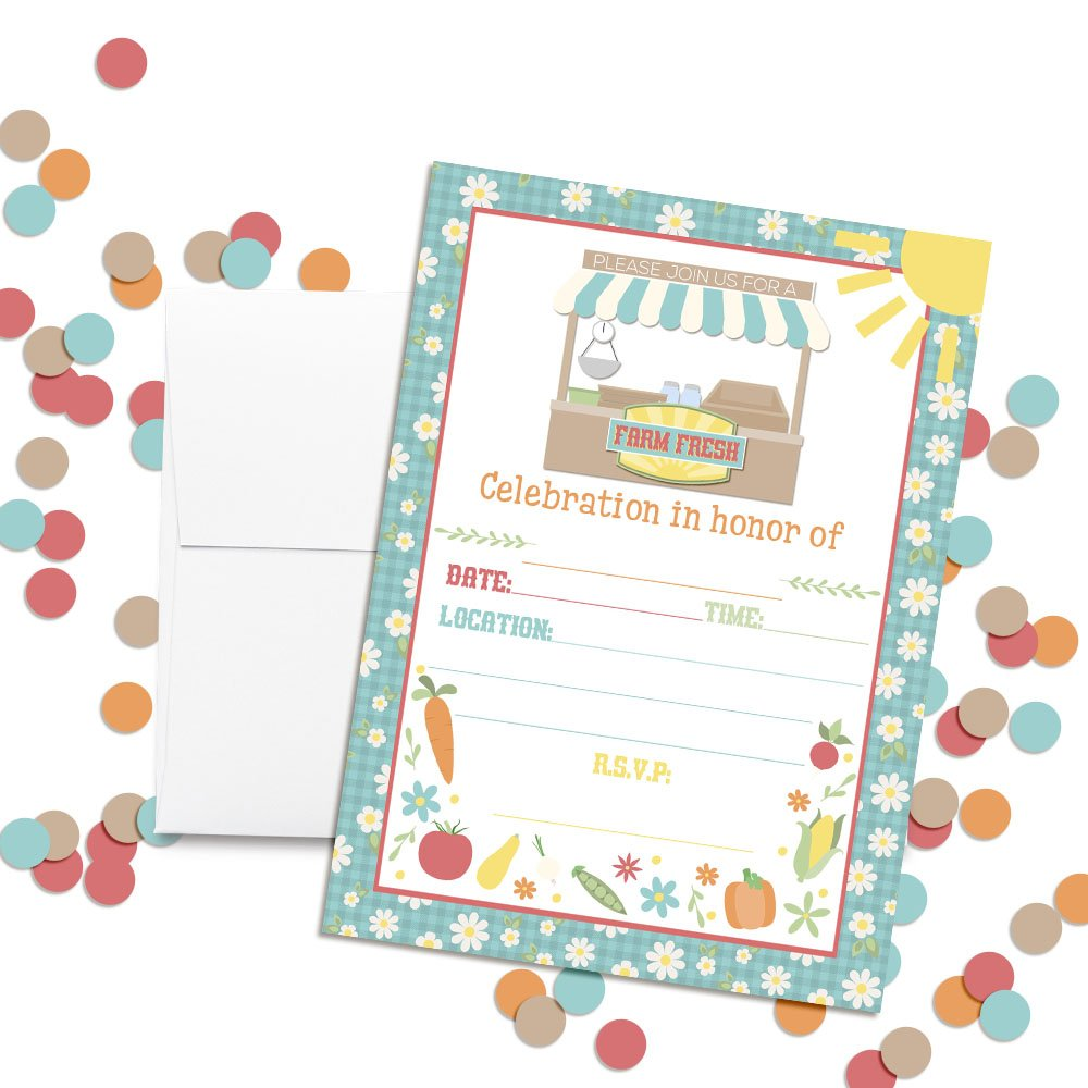 Ten 5x7 Fill in Cards with 10 White Envelopes by AmandaCreation Ten 5x7 Fill in Cards with 10 White Envelopes by AmandaCreation Amanda Creation Farm Fresh Country Market Birthday Party Invitations