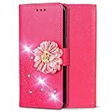 Shinyzone Leather Wallet Case for Samsung Galaxy Note 9,Elegant Embossed Flower Bling Diamond Pattern Flip Cover with Card Slots Magnetic Closure Stand Cover for Samsung Galaxy Note 9,Rose Red